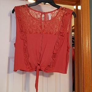 Coral cropped top